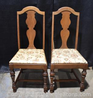 2 Antique Walnut Side Chairs Upholstered Seats