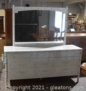 Thomasville Faux Bamboo Dresser with Mirror