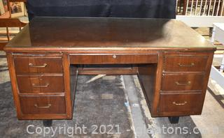 Large Mid Century Modern Wood Office Desk With Glass Protector On Top