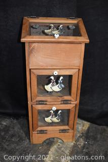 Wooden Floor Standing Bread Box with Country Geese