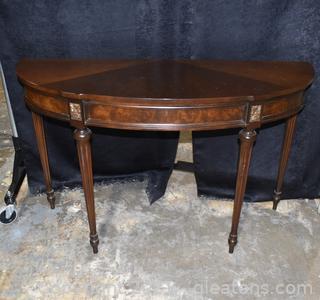 Burlwood Half Moon Side Table
