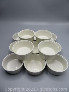 Set of 12 White Arabia Finland Souffle Dishes / Ramekins