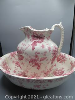 Rare English Floral Furnival Pitcher and Wash Basin