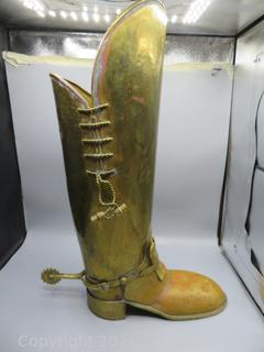 Brass Boot Umbrella / Cane Stand with Cowboy Spurs