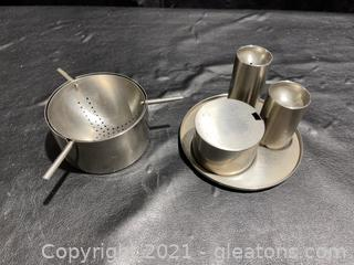 Rare Lauffer Stainless Stelton Condiment Tray W/ Steeper