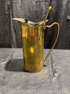 Brass Pitcher W/ Stirrer, Made in Italy
