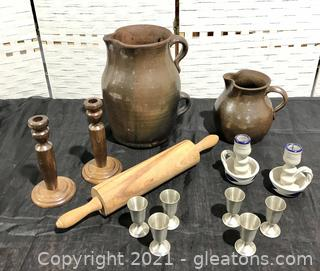 Vintage Pottery, Pewter and Wood Lot