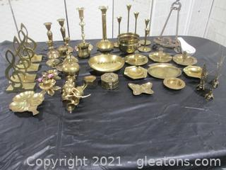 Mixed Taper Brass Candle Holders Plus Assorted Pieces
