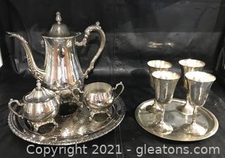 Silver Plate Beverage Service Lot