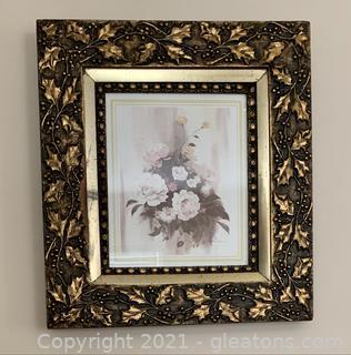 Giltwood Frame Signed Floral Print