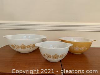 3 Pyrex Butterfly Gold Cinderella Bowls