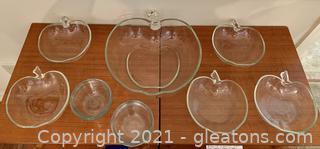 Clear Glass Apple Fruit Bowls and Ramekins