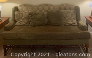 Sherrill Furniture Turned Mahogany Camelback Sofa