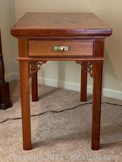 Beautifully Carved and Inlaid End Table