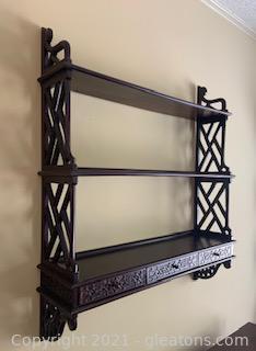 Asian Style Chippendale Mahogany Wall Shelf
