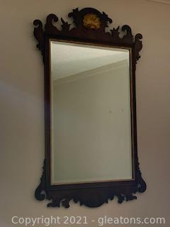 Chippendale Style Beveled Mahogany Wall Mirror