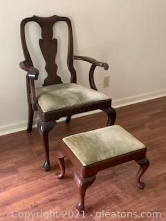 Henkel Harris Splat Back Arm Chair and Ottoman