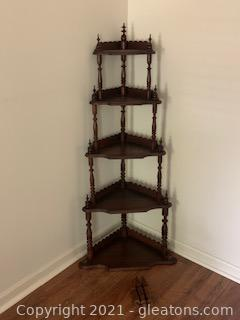 Carved Wooden Corner Display Shelf