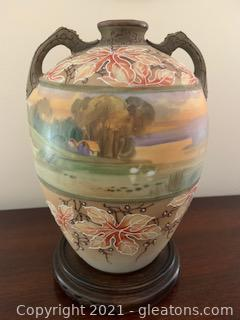 Antique Hand Painted Japanese Nippon Country Landscape Vase