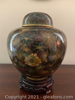Vintage Cloisonne Ginger Jar with Stand