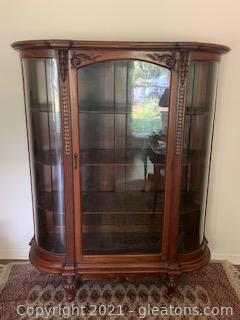 Gorgeous Antique Curved Glass Carved Display Cabinet