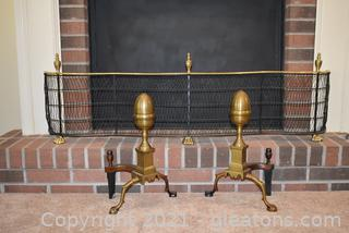 Pair of Federal Bronze Brass Andirons and Wire and Brass Fireplace Fender