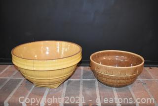 McCoy Window Pane Yellow Stoneware Mixing Bowl - Brown Mixing Bowl Shingles Pattern