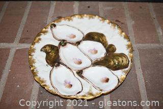 Antique Limoges Oyster Plate Hand Painted