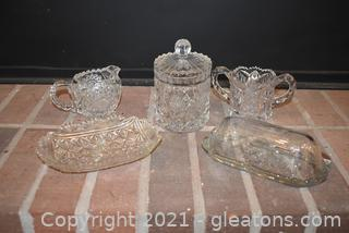 Small Crystal Biscuit Jar Sugar Creamer Anchor Hocking Butter Dish- Small Celery Tray