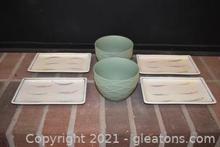 4 Sushi Plates & 2 Stoneware Dip Bowls