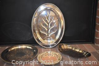 4 Silverplate Serving Pieces