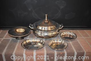 Pretty In Silverplate – 5 Pieces 3 Pieces marked 1-Leonard- 2 Chippendai