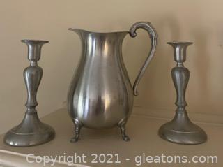 Preisner Pewter Footed Pitcher and Two Candlesticks