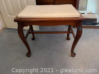 Cained Wood Bench W/Removable Seat