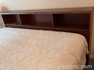 King Size Bed Includes: Wood Head Board W/Storage, Mattress, Box Spring & Bed Spread.