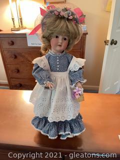 Ceramic Doll in Prairie Dress & Apron, Wearing a Hat
