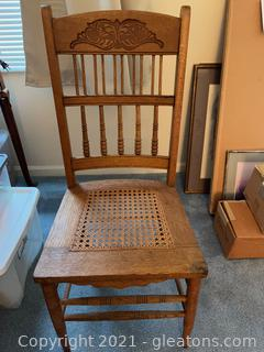 Carved Wood Side Chair with Cained Seat
