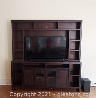 2 Piece Wall Unit/Entertainment Center (TV and Sound Bar Not Included)