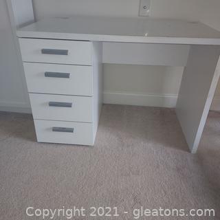 White 4 Drawer Desk