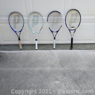 Set of 4 Prince Tennis Racquets