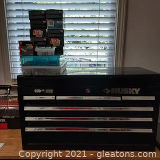 Husky 5 Drawer Top Tool Chest in Black and Lot of Fasteners on Top of it