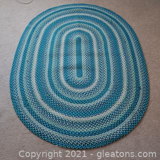 Colorful Turquoise Oval Rug