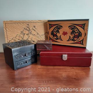 Wonderful Wooden Boxes Collection of 5