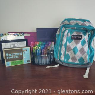 Nice Trans Jansport Book Bag and Writing and Art Supplies