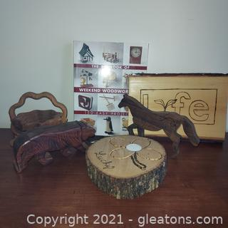 Collection of Neat Wood Art Plus Weekend Woodworking Book