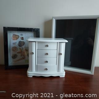 Misc. Lot –White Jewelry Box and 2 Shadow Boxes