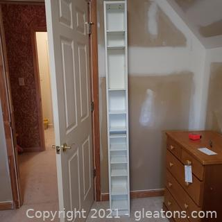 Tall Narrow White Storage Tower with Adjustable Shelves