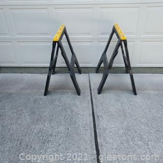 Pair of Durable Plastic Portable Sawhorses