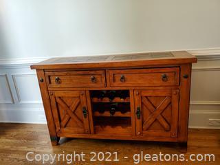 Gorgeous Modern Oak Buffet Wine & Drawer Storage W/Inlays & Metal Accents