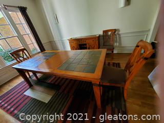 Gorgeous Modern Oak Dining Room Table with Tile Insert & Metal Accents